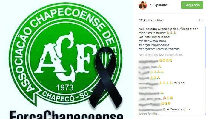 a6bbb2ed4 Hulk lamenta a queda do avião da Chapecoense nas redes sociais (Foto   Reprodução