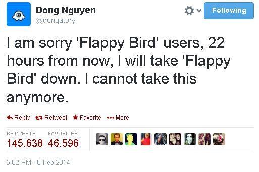 """No dia 8 de fevereiro Dong Nguyen anuciou que tiraria o jogo do ar: """" Sinto muito, usuário de Flappy Bird. Dentro de 22 horas, vou tirar o Flappy Bird do ar. Não posso mais suportar isso"""" (Foto: Reprodução)"""