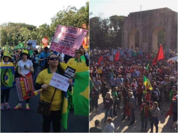Protestos contra e a favor de Dilma em Porto Alegre (Foto: Montagem sobre fotos/Josmar Leite e Fabio Almeida/RBS TV)