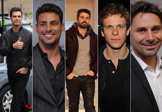 Carlos Casagrande; Cauã Reymond; Eriberto Leão; Cesar Cielo e Murilo Rosa (Foto: Agnews e Divulgação)