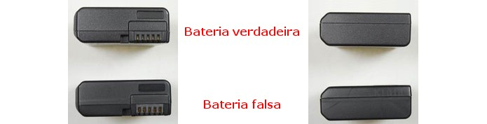 Topo e parte inferior da bateria EN-EL14 nos modelos original e falso (Foto: Divulgação/Nikon)