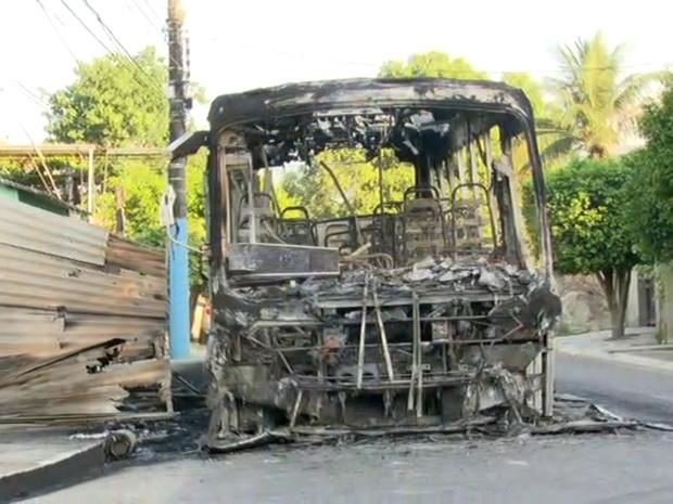 Suspeitos inceidaram ônibus durante a madrugada desta sexta em Engenheiro Pedreira, em Japeri (Foto: Reprodução/TV Globo)