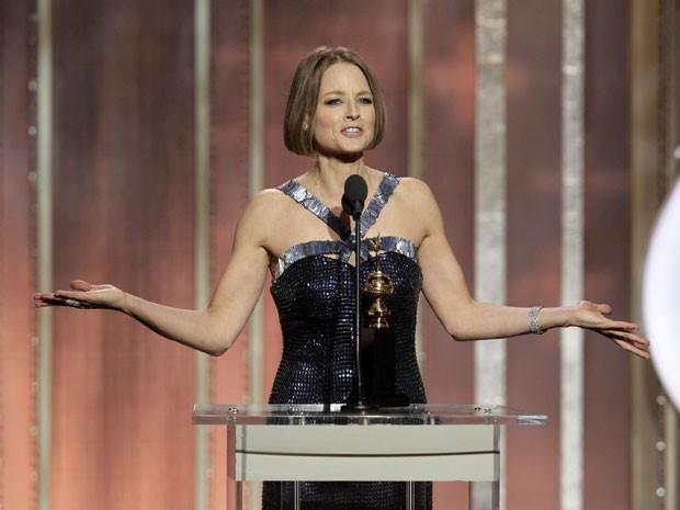 Jodie Foster durante seu emocionante discurso no Globo de Ouro 2013, em que recebeu o prêmio Cecil B. DeMille, pela carreira (Foto: Paul Drinkwater/NBC/AP)