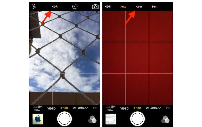 Ativando o modo HDR na câmera do iPhone 5S (Foto: Reprodução/Marvin Costa)