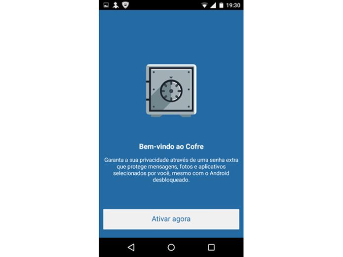Ativando o recurso Cofre no PSafe Total para Android  (Foto: Reprodução/Teresa Furtado)