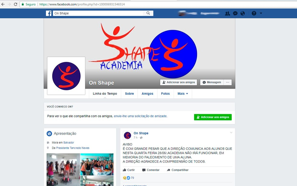 Academia onde aluna passou mal e morreu publicou nota de pesar nas redes sociais (Foto: Reprodução/Facebook)