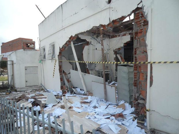 Explosões em agencias  (Foto: Alexandro Matos/Site:Voz da Bahia)