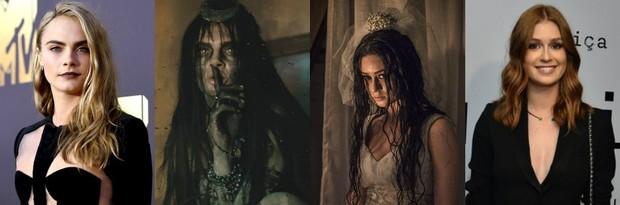 Cara Delevingne e atriz como Magia / Marina Ruy Barbosa como Malvina em Amorteamo e em evento (Foto: Emma McIntyre.Getty Images.AFP/ )