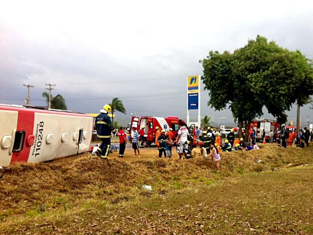 Ônibus tombado na BR-020; bombeiros fazem atendimento às margens da rodovia (Foto: Isabella Formiga/G1)