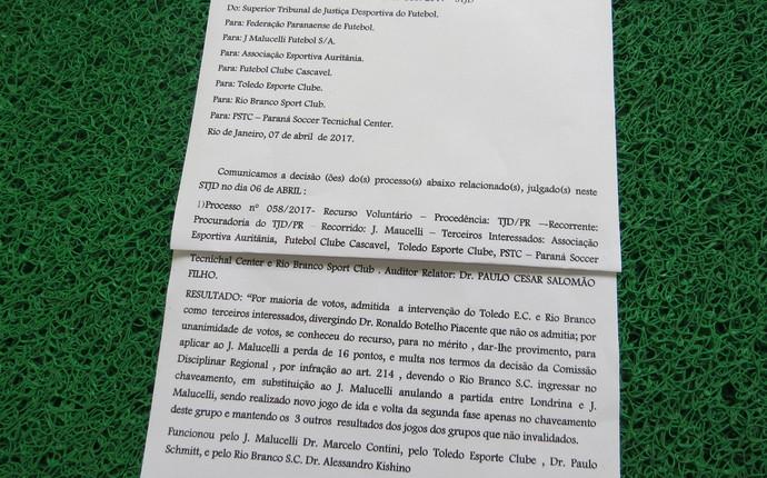acórdão STJD jmalucelli campeonato paranaense (Foto: Fernando Freire)