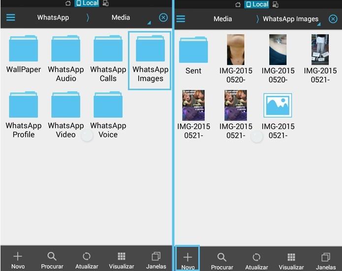 Escolha a pasta de arquivos do WhatsApp que deseja ocultar (Foto: Reprodução/Carol Danelli)