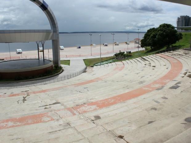 Praia artificial está interditada após registros de mortes o local (Foto: Adneison Severiano G1/AM)