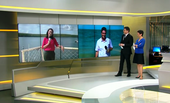A repórter Carla Suzanne participou de um link ao vivo para o Jornal Hoje. (Foto: Divulgação/ TV Sergipe)