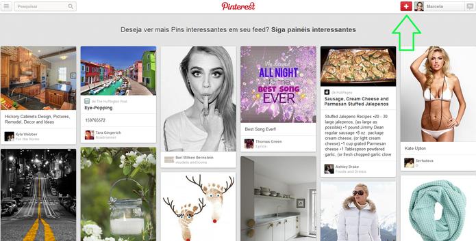 Botão de adição de painel no Pinterest (Foto: Reprodução/Marcela Vaz)