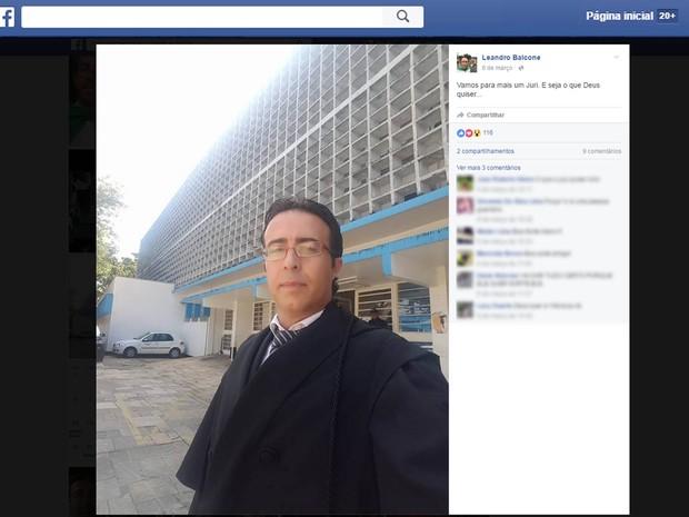 Leandro Balcone em sua página do Facebook (Foto: Reprodução/Facebook)