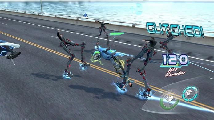 Equipada com metralhadoras, a motocicleta I.R.I.S. também é muito bem treinada em artes marciais (Foto: Divulgação/ Twisted Pixel Games)