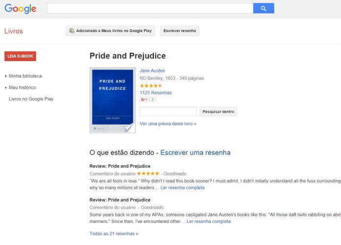 Alguns livros em domínio público, como Orgulho e Preconceito, podem ser encontrados na plataforma do Google para consumo gratuito (Foto: Reprodução/Filipe Garrett)