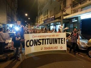 Manifestação pró-Dilma em Juiz de Fora (Foto: Rafael Antunes/G1)