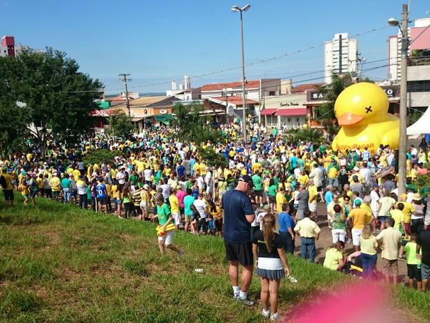 Concentração começou por volta das 9 horas na Getúlio Vargas  (Foto: Ana Carolina Levorato/ G1 )