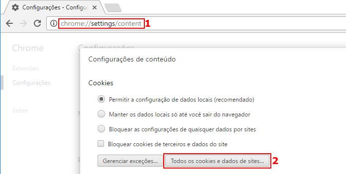 Acessando a tela de cookies nas configuração e de conteúdo do Chrome (Foto: Reprodução/Edivaldo Brito)