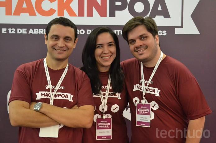 Marcelo Soares, Glaucia Peres e Bernardo Heynemann no Hack in PoA 2015 pela Globo.com (Foto: Melissa Cruz / TechTudo)