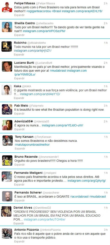 Atletas Twitter manifestações (Foto: Reprodução/Twitter)