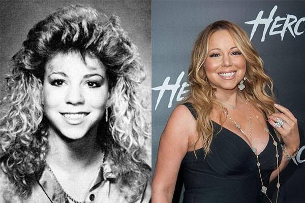 Mariah Carey continua com o mesmo rosto de sua adolescência. Por outro lado, o que sofreu grandes mudanças foi o seu cabelo (Foto: Reprodução e Getty Images)