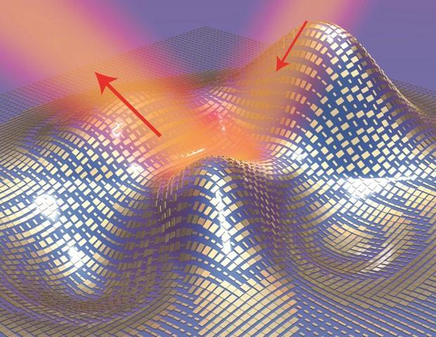 Imagem mostra ilustração em 3D de 'capa da invisibilidade' microscópica   (Foto: Xiang Zhang group, Berkeley Lab/UC Berkeley/Divulgação)