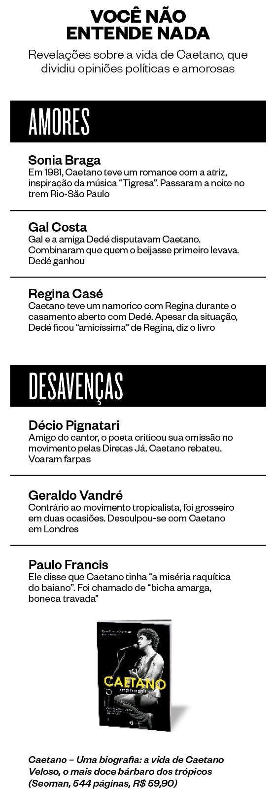 VOCÊ NÃO ENTENDE NADA Revelações sobre a vida de Caetano, que dividiu opiniões políticas e amorosas (Foto: Divulgação)