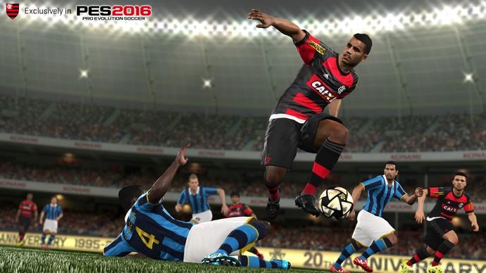 Konami ainda divulgou imagem de flamenguista que não parece com nenhum dos jogadores do time (Foto: Divulgação)