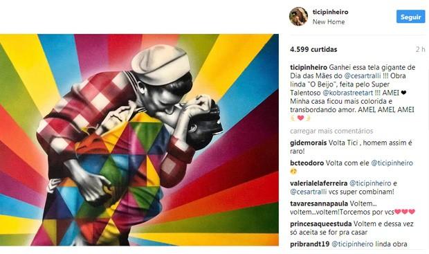 Ticiane Pinheiro ganha quadro de César Tralli (Foto: Reprodução / Instagram)
