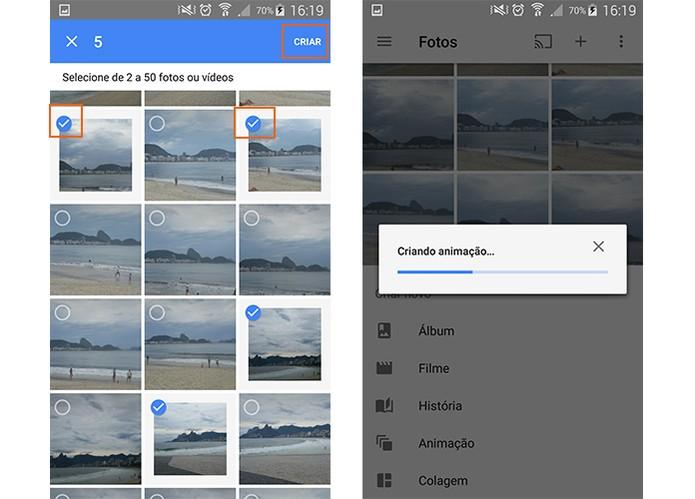 Selecione a fotos personalizadas para adicionar no GIF animado (Foto: Reprodução/Barbara Mannara)