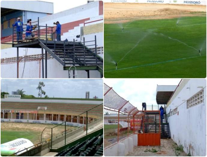 RN - Estádio Nogueirão, em Mossoró - reforma (Foto: Reprodução/Inter TV Cabugi)