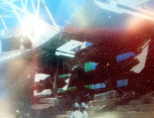 Arena Palmeiras acidente cobertura reprodução (Foto: Felipe Zito)