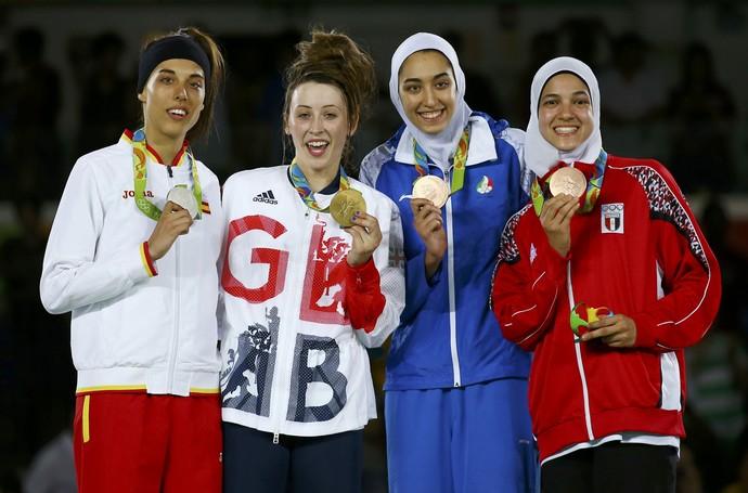 Hedaya Malak Wahba, Kimia Alizadeh Zenoorin, Eva Calvo Gomez, Jade Jones (Foto: Reuters/ Peter Cziborra)