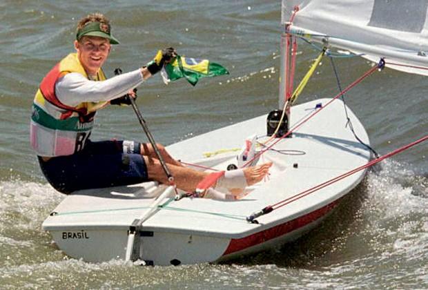 Robert Scheidt em Atlanta, em 1996: primeiro ouro olímpico (Foto: Getty Images)