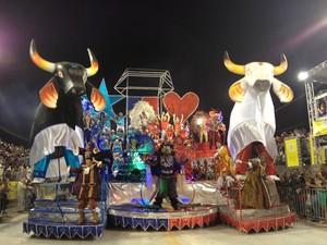 Quinto e último carro da escola traz o tema 'A Magia do Festival de Parintins no Carnaval da Onça Negra' (Foto: Luiza Carneiro/G1)