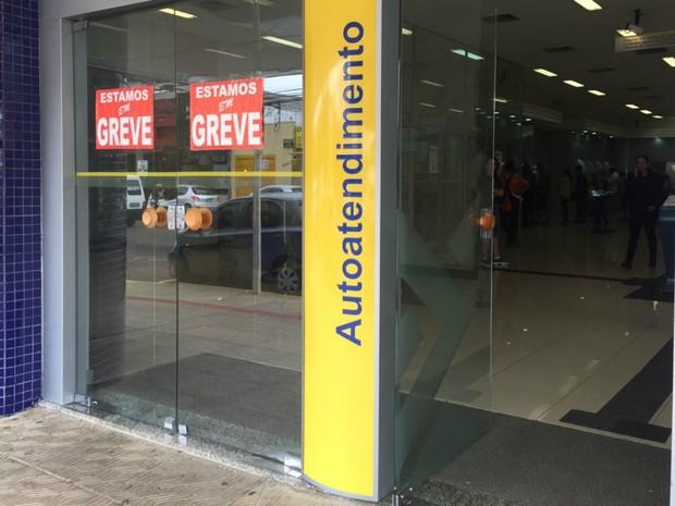 Agência bancária fechada em Campo Grande (Foto: Gabriela Pavão/ G1 MS)
