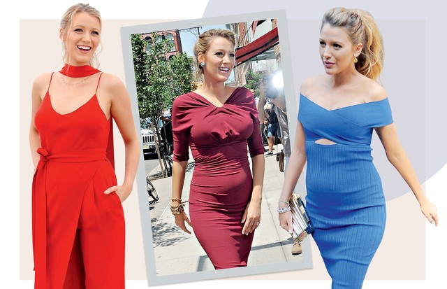 FEMININA: Do macacão ao vestido bodycon, Blake Lively sempre buscou evidenciar a barriga e o colo (Foto: Alo Ceballos, Josiah Kamau, Daniel Zuchnik, Marc Piaseck e Dominique Charriau/ Gettyimages, Splash News, Grosby Group, Akm-gsi e Getty Images)