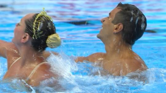 Na primeira participação da história do Brasil no dueto misto, casal fica em sétimo