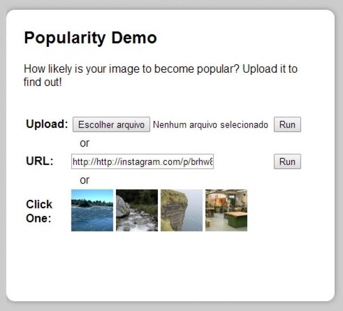 Ferramenta do MIT avalia, em uma escala de 1 a 10, quão popular uma foto será ao ser postada (Foto: Reprodução/popularity.csail.mit.edu)