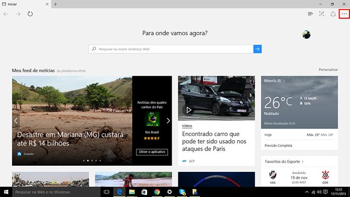 Microsoft Edge ganhou sincronização com outros dispositivos após a Windows 10 Update 1 (Foto: Reprodução/Elson de Souza)