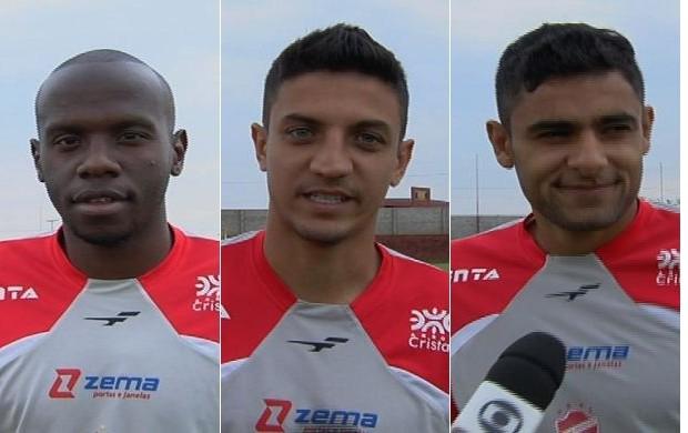 Fabão, Leonardo Fabrício e Rafael Leandro, novos jogadores do Vila Nova (Foto: Reprodução/TV Anhanguera)