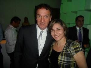 Comentarista com Cuca, ex-técnico que já comandou Cruzeiro e Atlético. (Foto: Arquivo Pessoal/ Cida Santana)