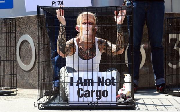 Manifestante protesta com máscara de macaco contra companhia aérea. (Foto: AFP Photo/Frederic J. Brown)