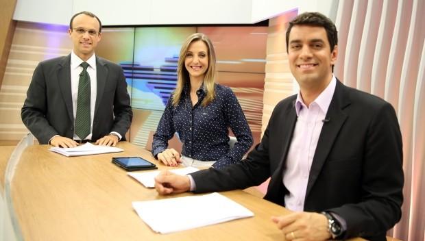 Adriana Krauss, Raphael Faraco e o comentarista Renato Igor  (Foto: RBS TV/Divulgação)