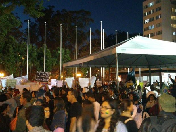 Manifestação em Nova Friburgo está prevista para começar às 18 horas (Foto: Juliana Scarini/G1)