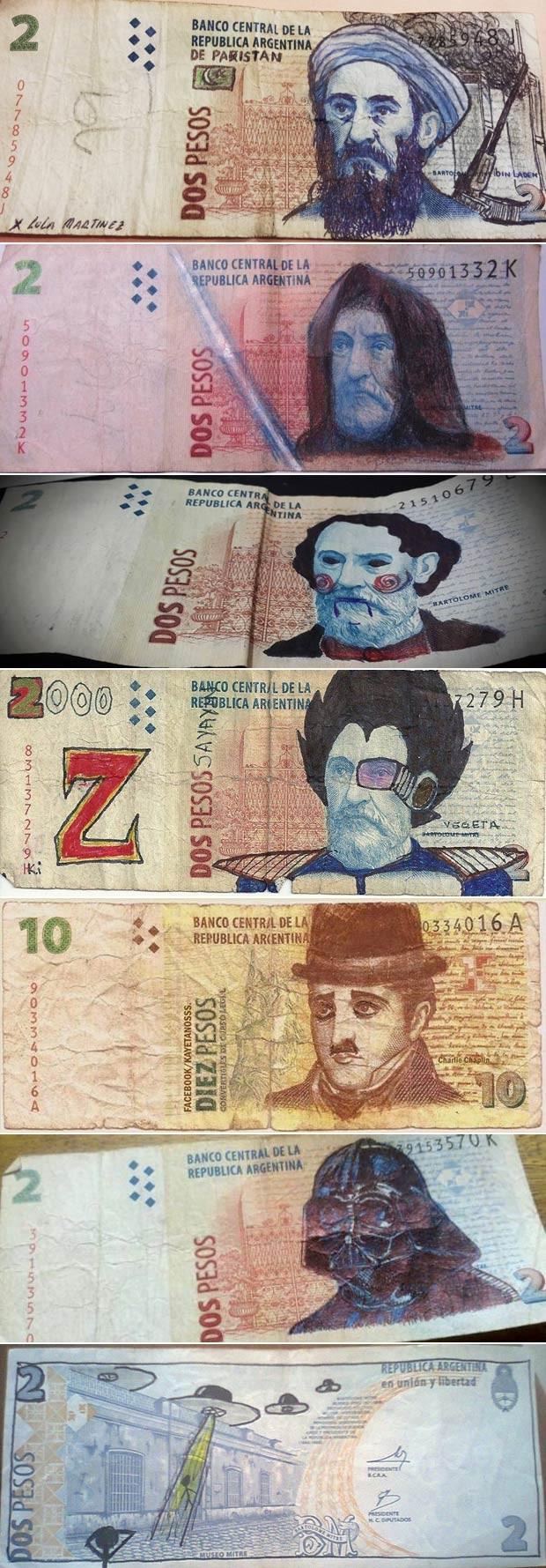 Usuários do Facebook postam fotos de seus desenhos na página que os compila (Foto: Reprodução/Facebook/Los Billetes Andan Diciendo)