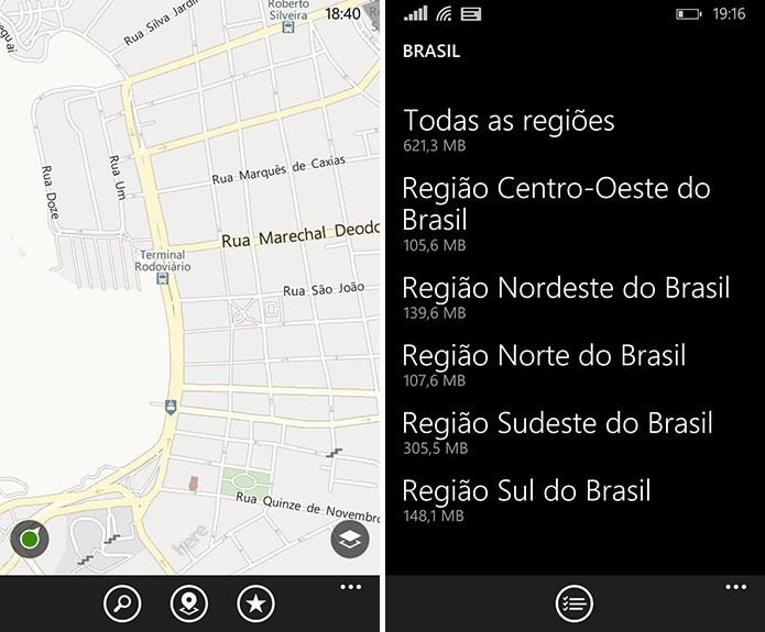 Here Maps do Windows Phone oferece o suporte de download de mapas offline (Foto: Reprodução/Elson de Souza)