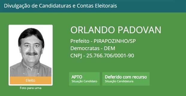 Prefeito eleito de Pirapozinho foi cassado nesta sexta-feira (2) (Foto: Reprodução/TSE)